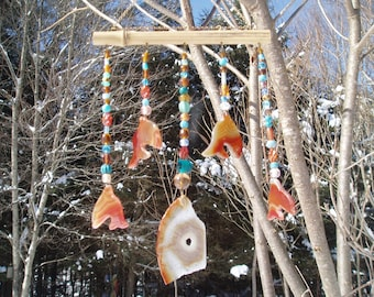 Handmade Recycled Upcycled Agate Amber and Blue Dolphin Mobile
