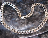 Heavy Vintage Sterling Silver Curb chain lobster claw clasp, necklace, 65.4 grams, 18 inchs total length, 3/8 width VERY nice condition