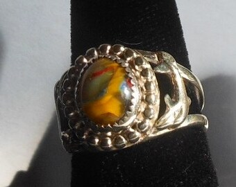 Sterling Silver Ring with glass cabochon center