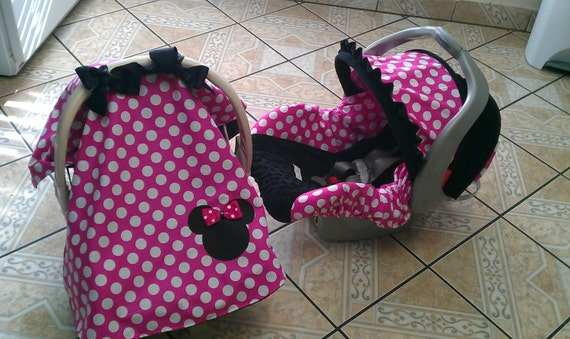 canopy and carseat cover set minnie mouse inspired. Black Bedroom Furniture Sets. Home Design Ideas