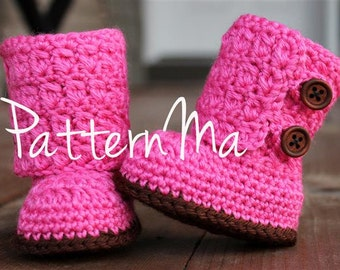 Crochet Baby Bootie Pattern Boy or Girl Overlapping Boots #17