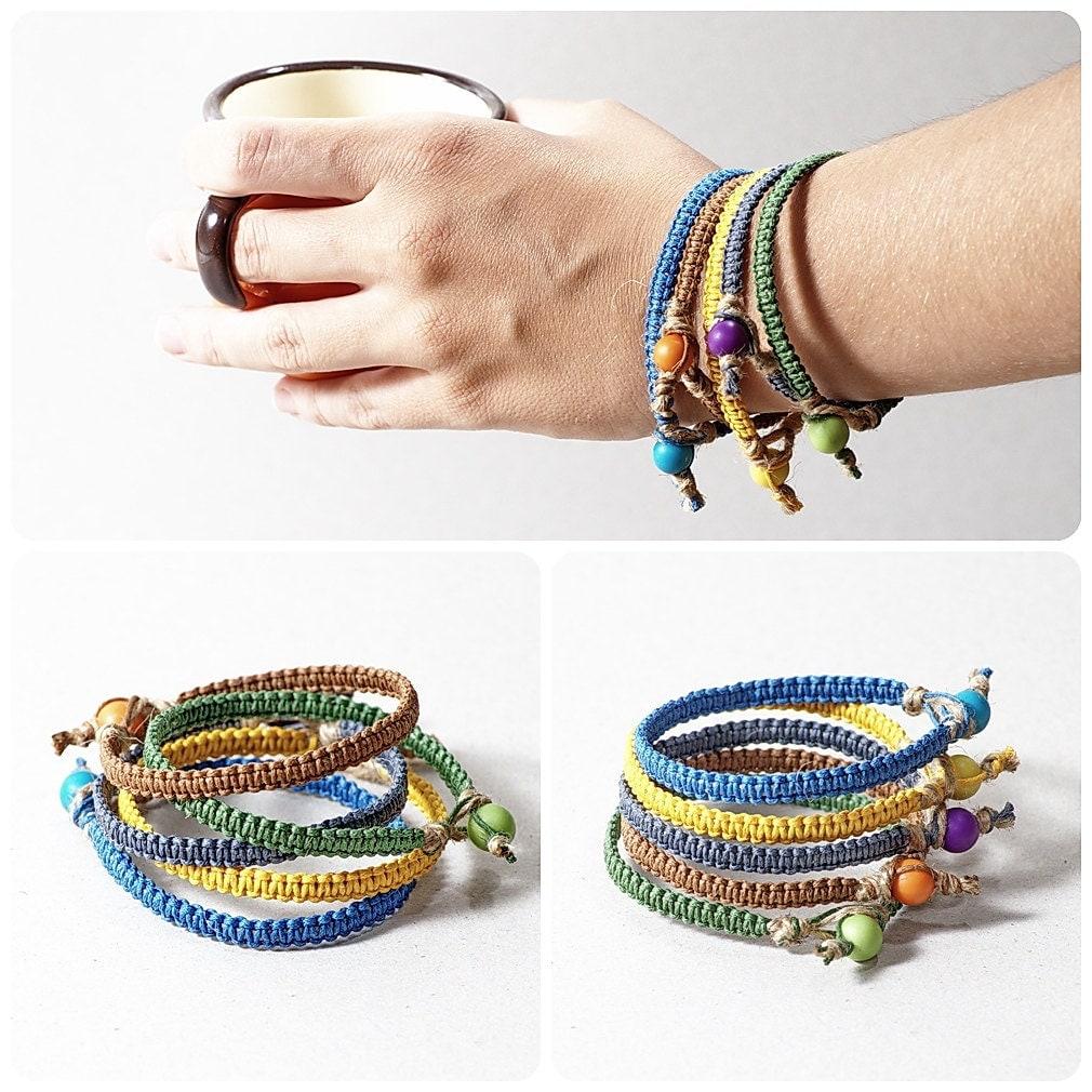 Macrame bracelet , unisex jewelry, hemp bracelet, waxed cotton cord bracelet,  custom color