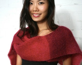 Knitted scarf, Mohair scarf, Luxury Mohair, Hand Knitted scarf, Red, Deep Red