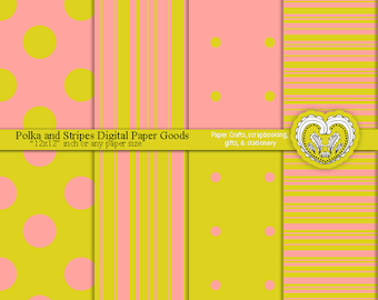 Digital Paper Pack of Yellow Green and Salmon Background Color Sheets