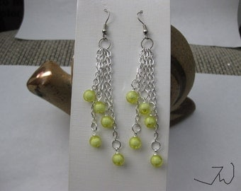 Yellow Crystal Beads Stainless Steel Earrings