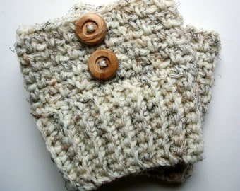 Womens Boot Socks , Wool Cream Boot Socks With Wood Buttons , Boot Cuffs