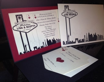 Elegant Las Vegas Themed Wedding Invitation-Custom Colors