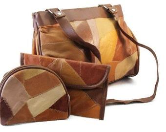 Leather Patchwork Handbag, Wallet and Change Purse - Vintage Leather Purse
