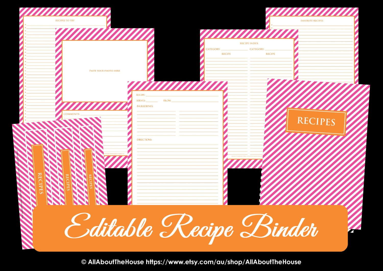 EDITABLE Recipe Binder Printables Recipe Sheet by AllAboutTheHouse