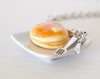 Pancake necklace kawaii made of Polymer clay miniature food jewelry