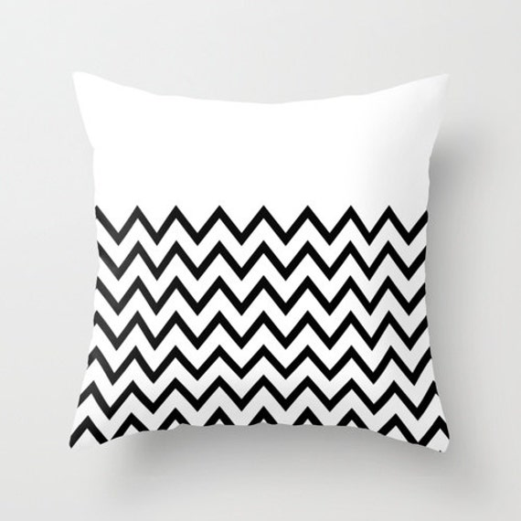 Black and White Chevron Throw Pillowcases White Edition By Pencil Me In // Black and White Pillow