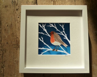 Original Robin in Tree painted Christmas papercut in box frame