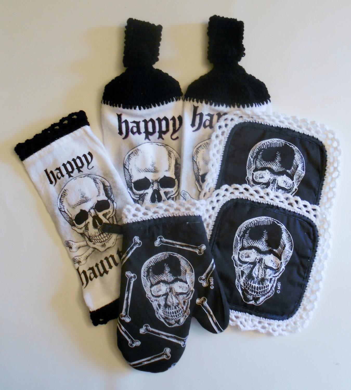 Skull Kitchen Set Crochet Hanging Towels Pot Holders Oven