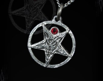Small Baphomet pendant necklace with a swarovski of your choice, Berkaial's Wraith