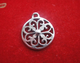925 Sterling silver filigree finding, silver filigree charm or pendant