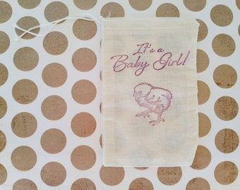 Its a Baby Girl Baby Shower Favor Bag Chick Muslin Bag Party Favor Gift Bag Farm Rustic Country Nursery Rhyme Thank You Jewelry Soap