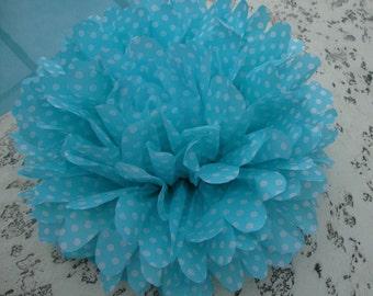 Aqua with White Polka Dot / 1 tissue paper pom pom / baby shower, wedding, party decor, birthday, bridal shower, nursery