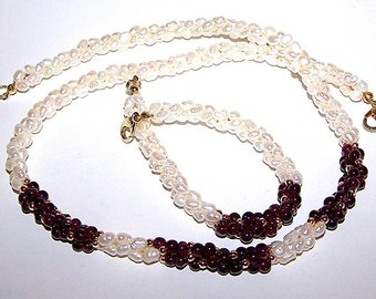 Garnet Fresh Water Pearl  Necklace & Bracelet Demi - Parure