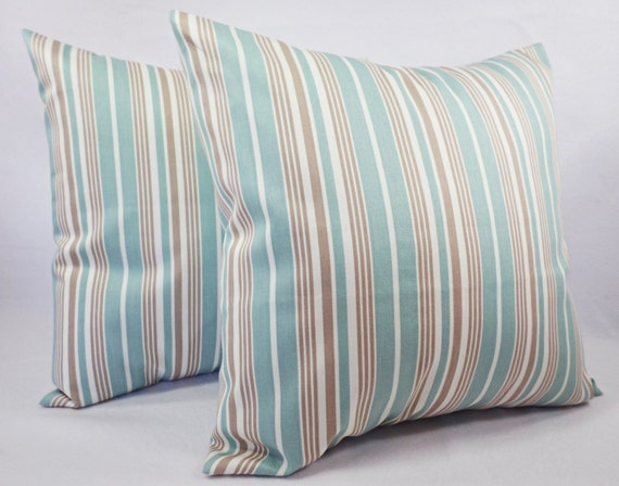 Items similar to Blue Striped Pillow Covers - Blue and Brown Throw Pillows - 20 x 20 Inch Pillow ...