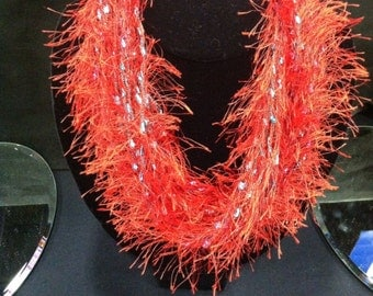 Red Fuzzy Short Necklace