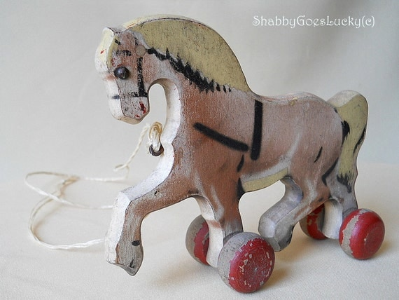 Antique German horse pull toy, 1920s Erzgebirge vintage wooden horse on wheels, shabby rustic painted toy, cottage style decoration
