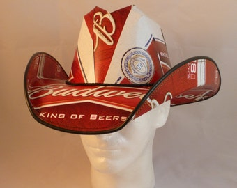 Beer Box Cowboy Hats. Made from recycled Budweiser beer boxes.  Beerhat.