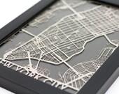 "New York City Stainless Steel Laser Cut Map - 5x7"" Framed | Wall Art"