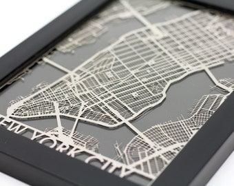 "New York City Stainless Steel Laser Cut Map - 5x7"" Framed 
