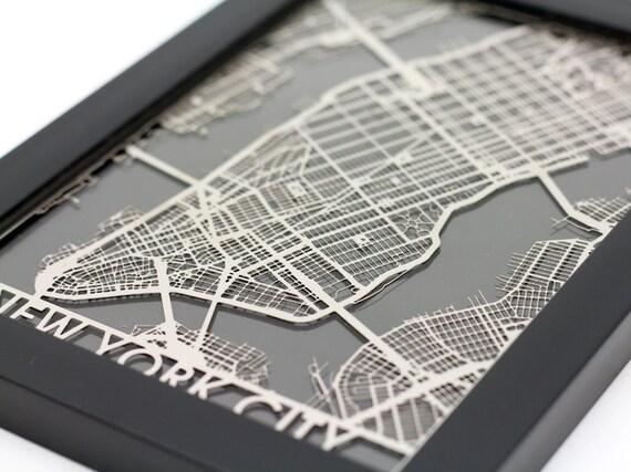 New York City Stainless Steel Laser Cut Map 5x7 Framed
