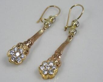 Fine Diamond and Rose Gold Drop Earrings From Victorian Era  5ZHWF2-N