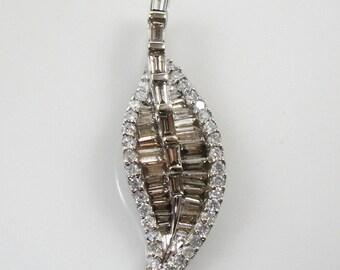 Pretty Champagne Diamond in 14K White Gold Leaf Pendant 3Z42X6-D