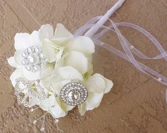 Rhinestone and Pearl  Brooch Wedding Jewel Flower Girl Wand