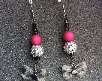Pink Disco Bow Earrings