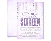 Glitter Look Sweet 16 Party Invitations - DIY Printable or Printed Invitations