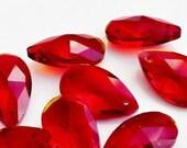 Set of 10 Red Almond Cut Chandelier Prisms Red Crystal Tear Drop Pendant Wholesale Chandelier Crystals Wholesale Crystal Prism Drops