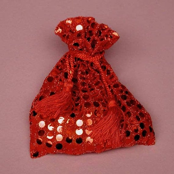 Indian Wedding Favors Wholesale: 24 Red Sequin Favor Bags Sparkly Red Bags Red By SparkleSoiree