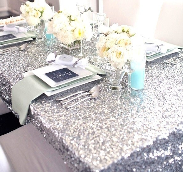 sale 8ft banquet silver sequin 8 ft table cloth by sparklesoiree. Black Bedroom Furniture Sets. Home Design Ideas