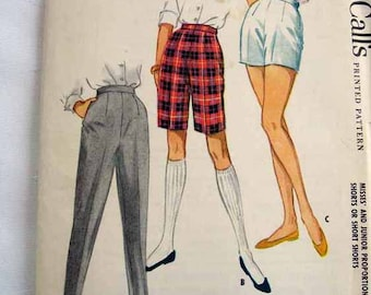 1959 McCall's Sewing Pattern 5263 -  UNCUT - 24 1/2 inch waist - Pant and Shorts Pattern