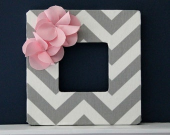 Grey Chevron Frame with a Light Pink Fabric Flower