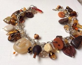 Brown/Amber Beaded Charm Bracelet