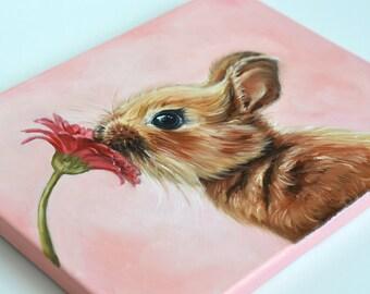 Bunny giclée print on canvas. Rabbit wrapped canvas. Bunny art. Easter gift.  Kids decor. Children decor. Nursery art.