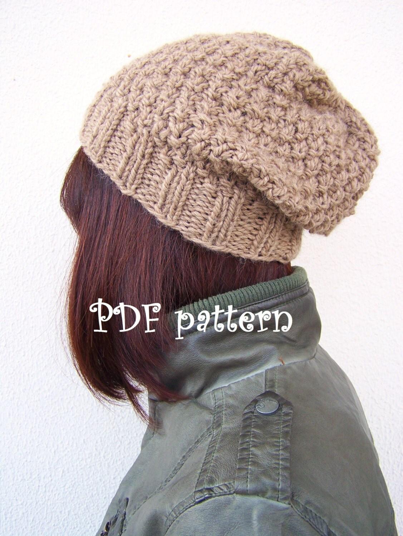 PDF Knitting Pattern Slouchy Hat Slouchy Beanie Womens Hat