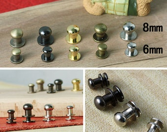 10 Metal Rivet Stud, Round Head Screw Back Stud - 8mm x 10mm For Leather Crafts. (RR013-8)