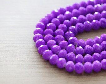 60 pcs of Shiny Purple Faceted Rondelle Glass Beads - 6 x 8 mm
