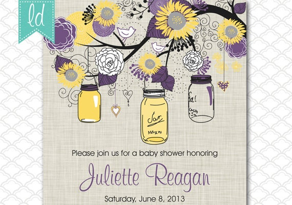 Cheap Sunflower Wedding Invitations: Wedding Invitation Sunflowers And Mason Jars Purple And Yellow