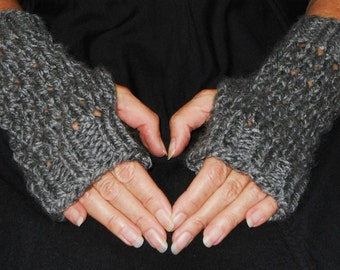 Fingerless Gloves Wrist Warmers Chunky Charcoal Gray READY to SHIP