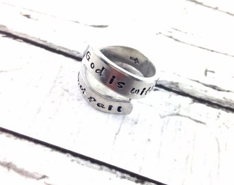 God is within her, she will not fail wrapped ring, personalized and hand stamped