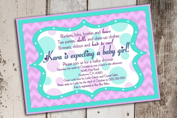 purple and teal chevron and dot baby shower invitation printable file