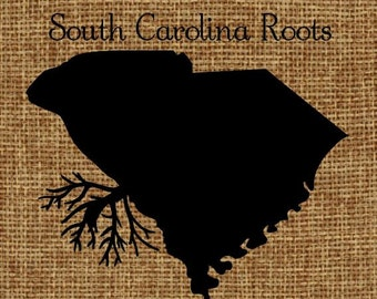 Burlap frame-able art South Carolina Roots