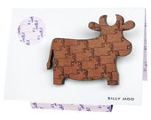 Silly Moo - Engraved Myrtle Cow Brooch
